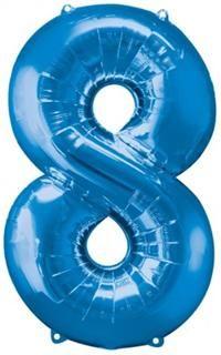 8 Sayısı Mavi, Supershape Folyo Balon Uçan balon, balon buketi için www.partipaketi.com