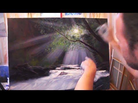 Водопад, лучи света. Видео урок по Живописи Игоря Сахарова - YouTube
