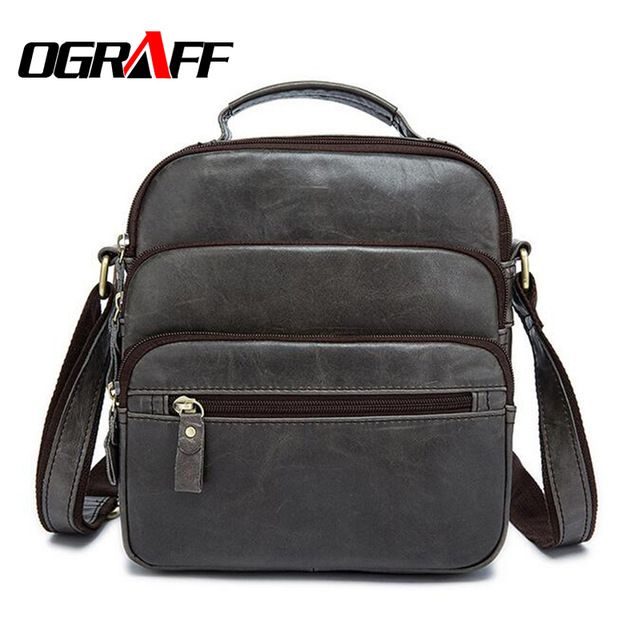 OGRAFF Genuine leather briefcase men messenger bags designer handbags high quality casual business small mens office bags luxury