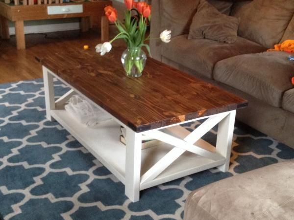 two tone coffee table farmhouse style X 2x4 industrial white wood top free  plans tutorial ANA-WHITE.com | Living Room Tutorials | Pinterest | Wood  varnishes ... - Two Tone Coffee Table Farmhouse Style X 2x4 Industrial White Wood