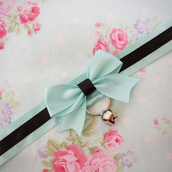 Mint and Black Collar, Kitten Play Collar, Lolita Collar, Ribbon... ❤ liked on Polyvore featuring accessories