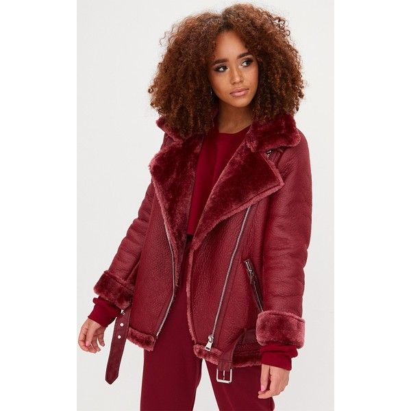 Burgundy PU Aviator Jacket ($97) ❤ liked on Polyvore featuring outerwear, jackets, red, faux fur lined jacket, aviator jacket, pu jacket, wrap jacket and burgundy jacket