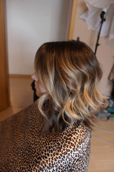 Ombre. Long bob curly.