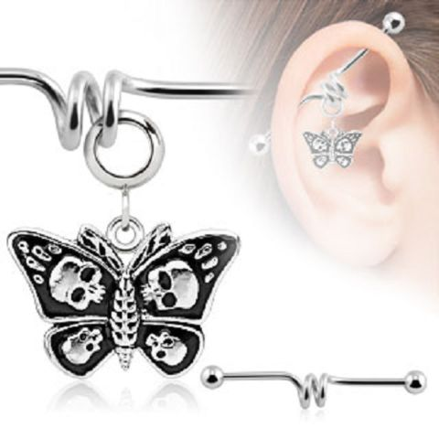 Butterfly With Skulls Charm Industrial Barbell Body