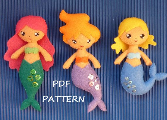 PDF sewing pattern to make a small mermaids in felt.