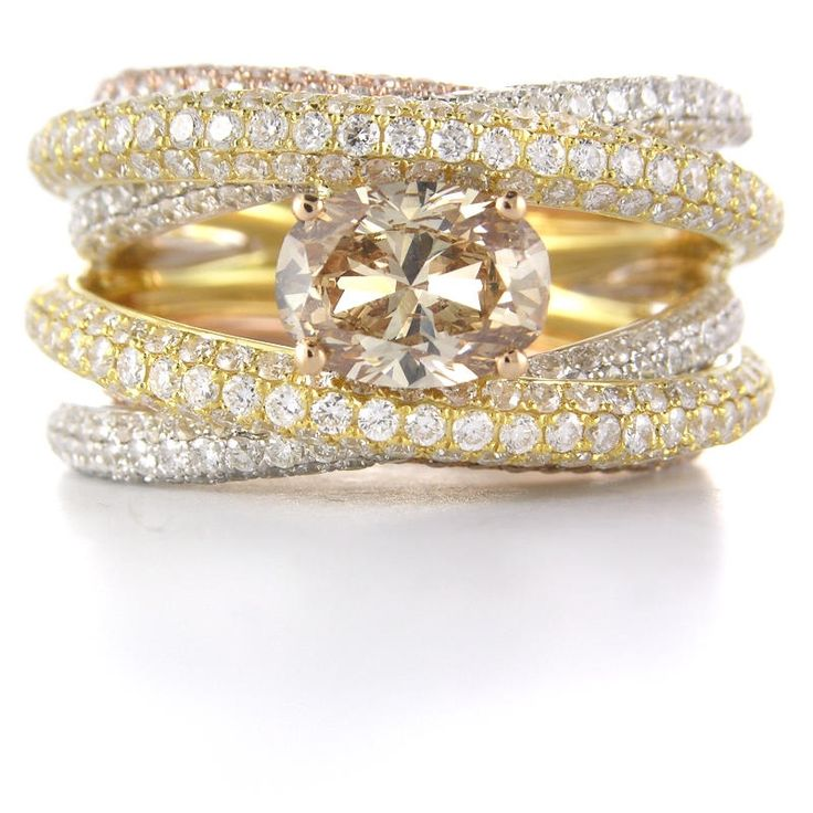 Diamond 18K Three Tone Gold Ring