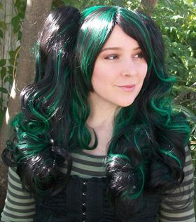 black and green gothic loli ponytail wig