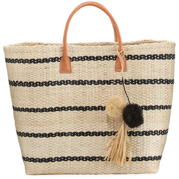 Buji Baja Provence Large Colorblock Straw Tote Bag ($60) ❤ liked on Polyvore featuring bags, handbags, tote bags, neutral, tote purses, woven straw handbags, brown tote, woven tote bags and brown tote handbags