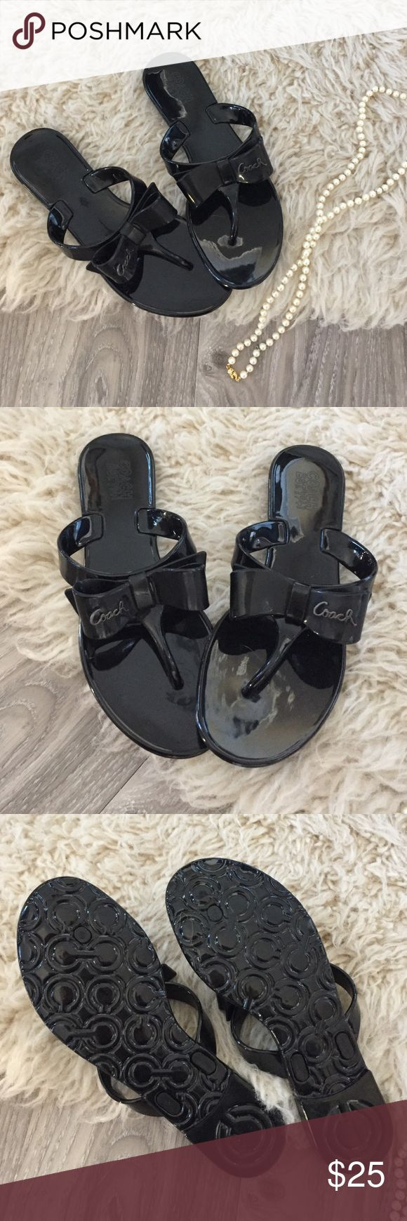 Coach Jelly Bow Sandals These are seriously cute and never worn! Black Coach jelly sandals with the sweetest bows. I would love to keep these for myself, they are unfortunately a bit too small for me! Coach Shoes Sandals