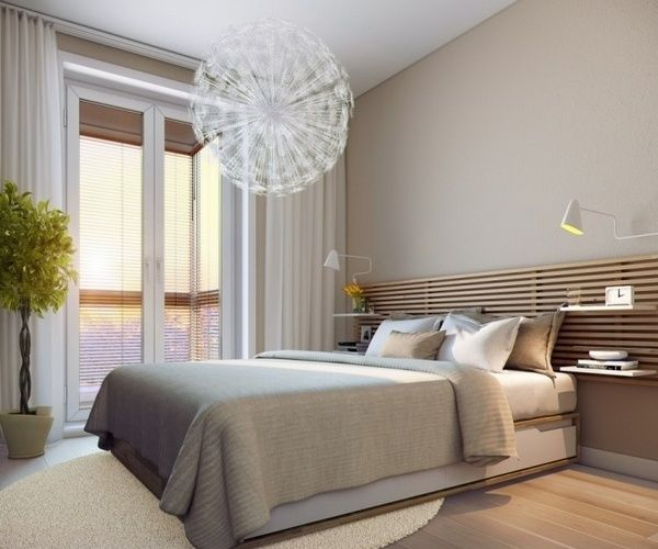 Small Bedrooms Ideas Neutral Colors Modern Chandelier Small