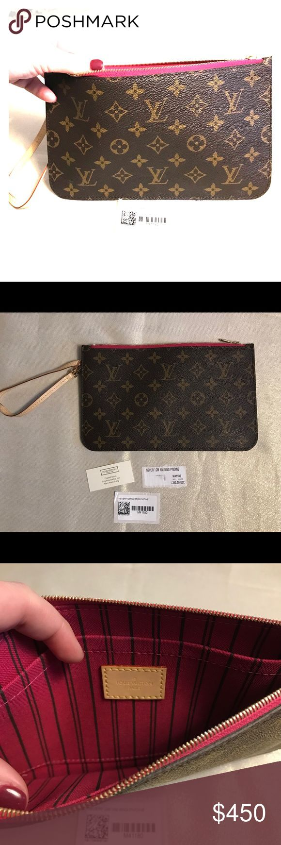 Authentic Louis Vuitton Wristlet Pouch Came with my Louis Vuitton Neverfull GM. Never been used, brand new. Bought from Louis Vuitton at International mall in Tampa FL. Pink inside ♥️.  Inside code is SD3197 Louis Vuitton Bags Clutches & Wristlets