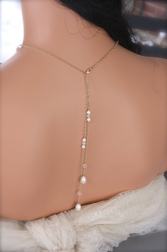 BACK DROP NECKLACE Double Stranded Gold by LalleBridalJewelry