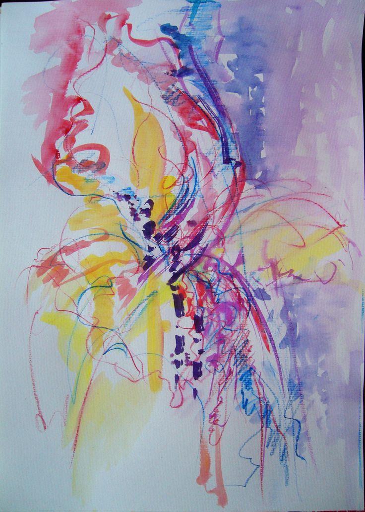 Iris- mixed media, 42/29 cm, 2016, Derecichei Simona Mihaela