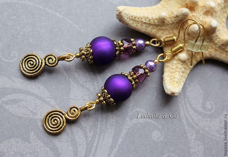 Купить Фиолетовые серьги яркие на лето_Яркое настроение - купить серьги в подарок, серьги в подарок девушке