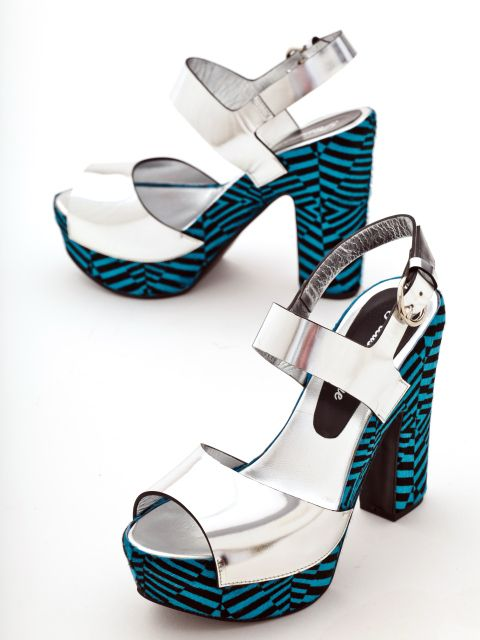 Optical illusions by Pleasemachine:  high block heel platform sandals featuring mirror leather and hair with geometric electric blue/black print on the platform
