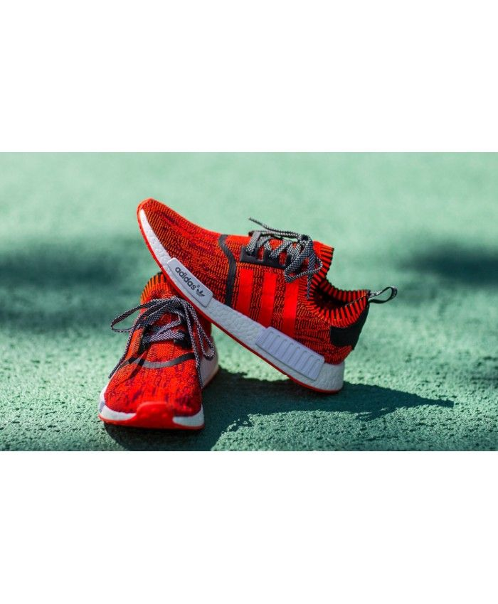 faff371a2 Adidas NMD R1 Primeknit Trainers In Red Apple