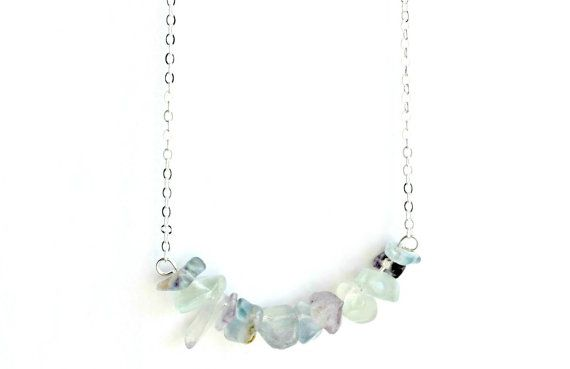 Fluorite Necklace Cluster Crystal Pendant Silver by IndigoLizard