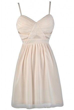 Cute Beige Dress, Beige Party Dress, Beige Cocktail Dress, Beige A-Line Dress, Beige Summer Dress, Beige Rehearsal Dinner Dress, Beige Bridal Shower Dress