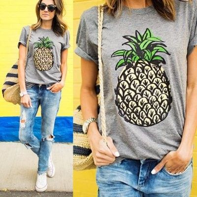 2016 Spring summer round neck pineapple printing gray woman T-shirt $10.17