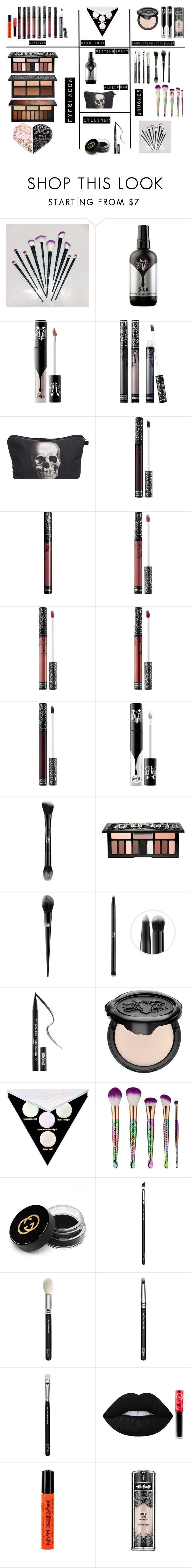 """""""My Makeup"""" by budlebug ❤ liked on Polyvore featuring Kat Von D, My Makeup Brush Set, Gucci, ZOEVA, Lime Crime and NYX"""