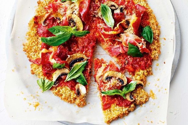 Prosciutto is cured ham - it adds a rich, salty hit to these quinoa pizzas with minimal effort.