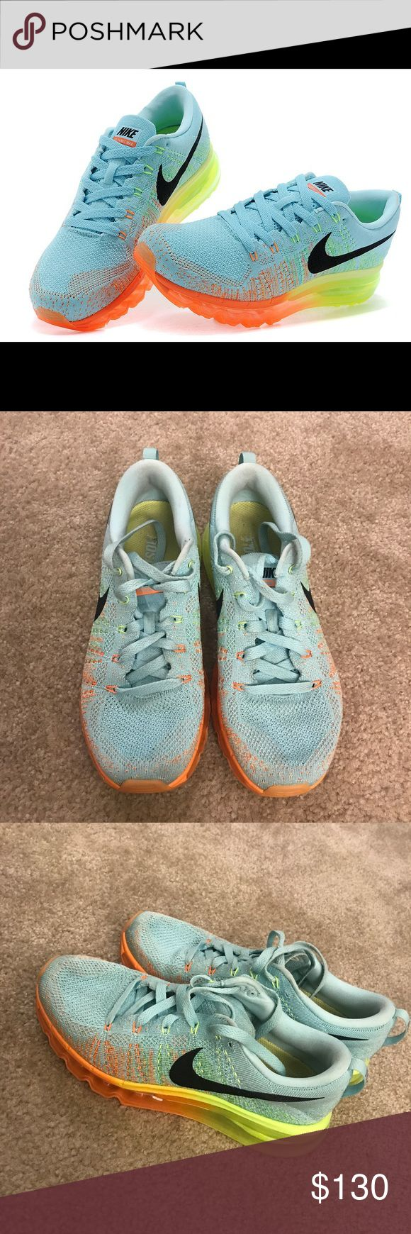 Nike Flyknit Air Max 1 Mint Blue Size 7 Nike Flyknit Air Max 1 shoes (2014) Women's size 7 / UK 4.5 / EUR 38 Color is mint blue. Sole is orange to neon yellow gradient  Beautiful shoe! Only worn a handful of times Nike Shoes Sneakers