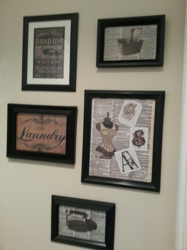 Vintage decorating on a tight budget. The frames are from the dollar store and the graphics from the web - this entire project cost $6 :-)