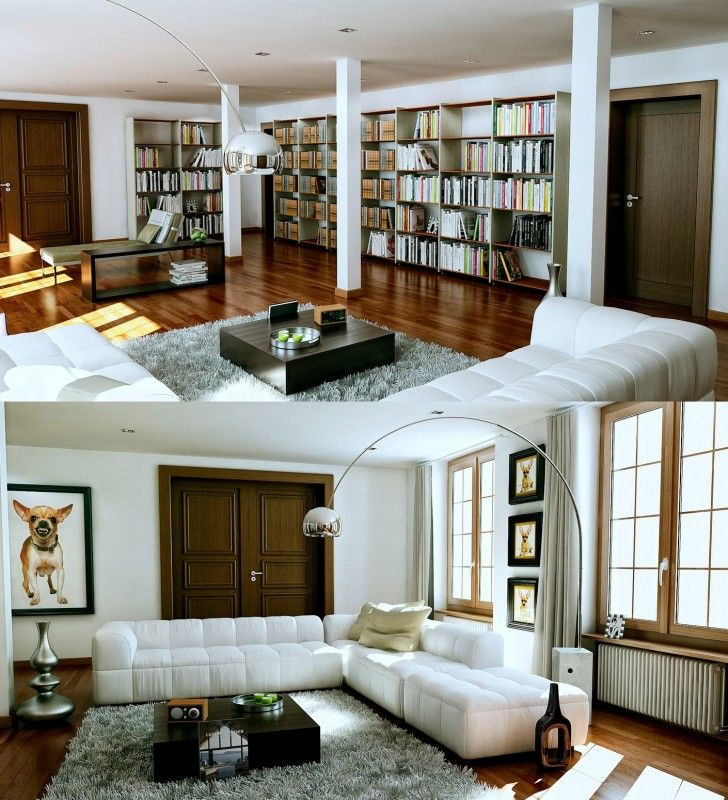 Living Room Chrome Arc Lamp White Fur Rug Beige Sectional Sofa Brown Wooden Floor