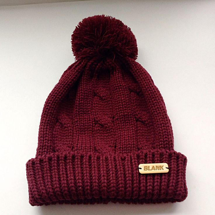 Maroon Pom Pom toque with wooden hand label!