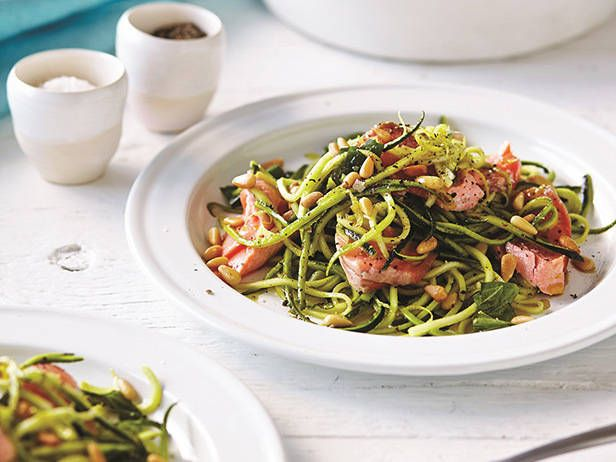 Turn the humble zucchini into pasta in this dish – it's so easy to do, and great for your health. Rainbow trout is rich in colour and texture, and, when poached, just perfect to toss through the linguine. From Clean Living by Luke Hines and Scott Gooding.