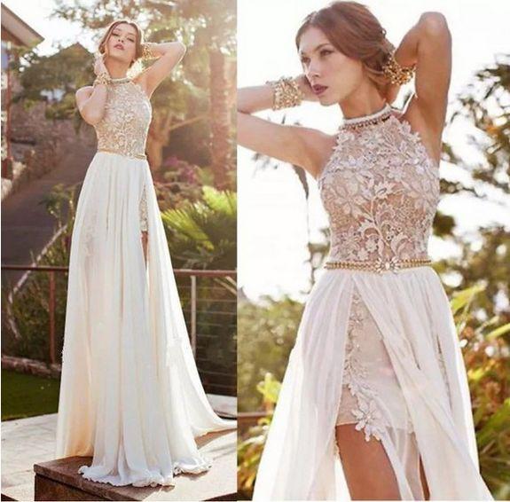 [ $25.00 ] SEXY ROSE LACE STITCHING CHIFFON DRESS M630918