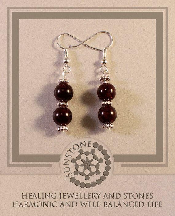 Red Garnet Gemstone Earrings with Tibetan Beads by SunstoneCraft, £8.00