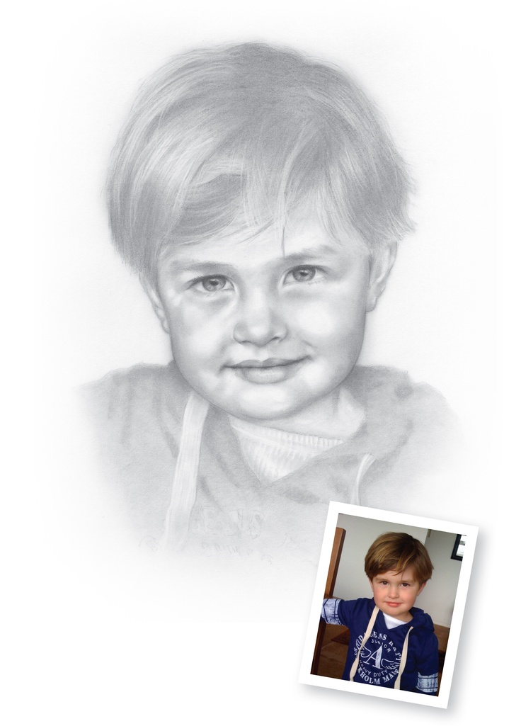 Pencil Portraits of Boys - Archie.  New drawing of Archie... now 3 years old! I'm using more tones and less hard lines to create a softer, hopefully more realistic drawing.