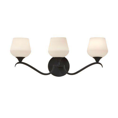"Home Solutions Merritt Black Three-Light Vanity Fixture by Home Solutions. $105.00. 3 - 100 watt Edison bulbs. 9.875""""H x 6""""Ext x 24.875""""D. Finish: Black. - Dimensions - L:24.875' H-9.875' E:6' BP:D-5.5'' Round - Back Plate - DP:3/4' W:9' H:5' Rectangular - Cord Color - Black/White - Shade/Glass - Opal Etch Glass - Material - Metal - Lamping - 3- E 100 Watt"