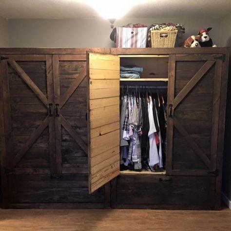 Twin Wood #Pallet #Wardrobe - Pallet Closet | Pallet Furniture