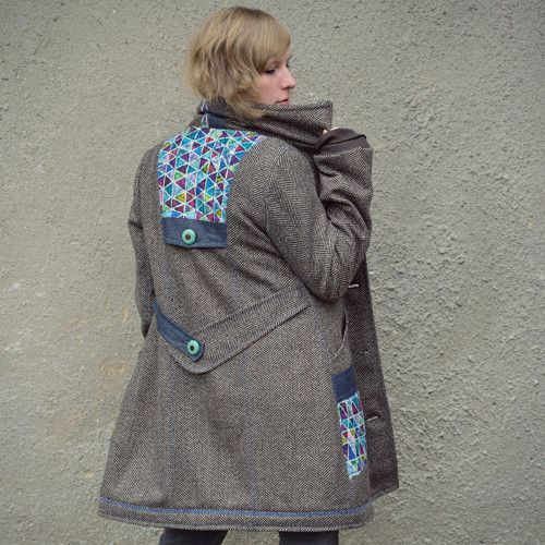 Herringbone Mid Length Coat - vlněný kabát