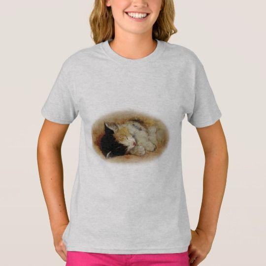 Sleeping Kitten Girl's T-Shirt
