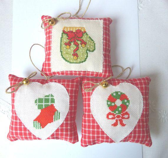 Decorations Christmas Ornament Set of 3 by CrossStitchElizabeth