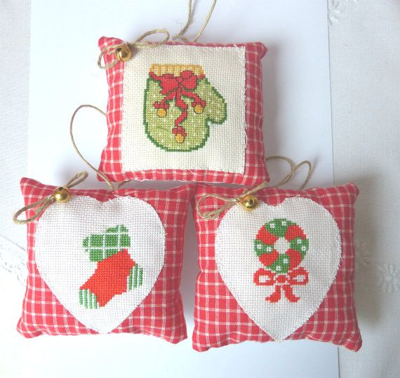 Decorations Christmas Ornament Set of 3 by CrossStitchElizabeth