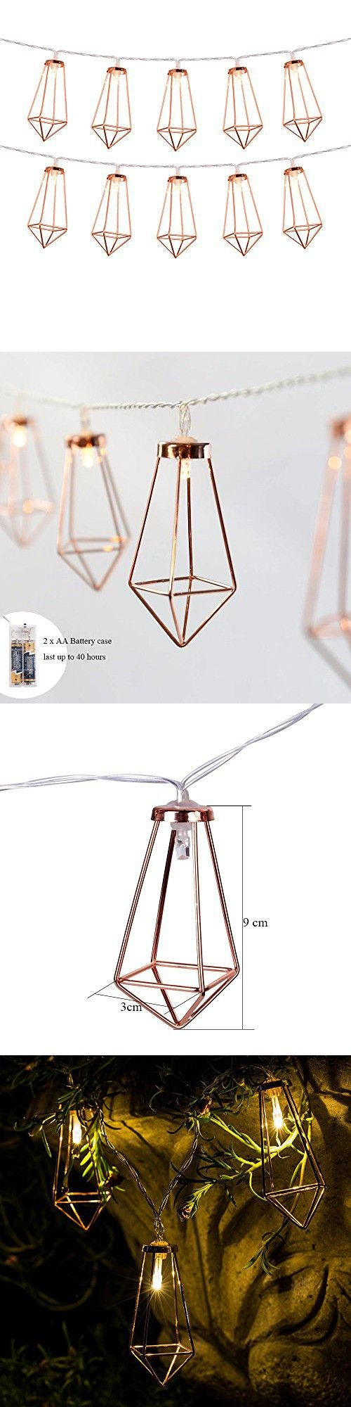 Omika Rose Gold Geometric Exclusive Led Fairy Lights, Battery Powered, Boho Metal Led Lantern String Lights – Perfect for Multipurpose use, 10 lights (5ft/1.8m Warm White)