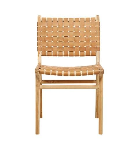 Leather strapping Dining Chair - Teak & Tan