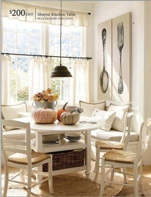 Cozy Breakfast Nook for lazy Saturday mornings. Add some colorful pillows for cheer.