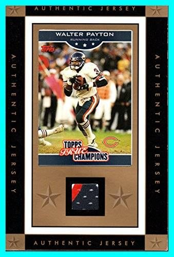 cool Walter Payton 3-Color GAME USED JERSEY CHICAGO BEARS 2006 Topps True Champions measures 4x6 inches