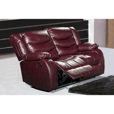 Meridian Furniture Gramercy Leather Reclining Loveseat Burgundy - 644BURG-L