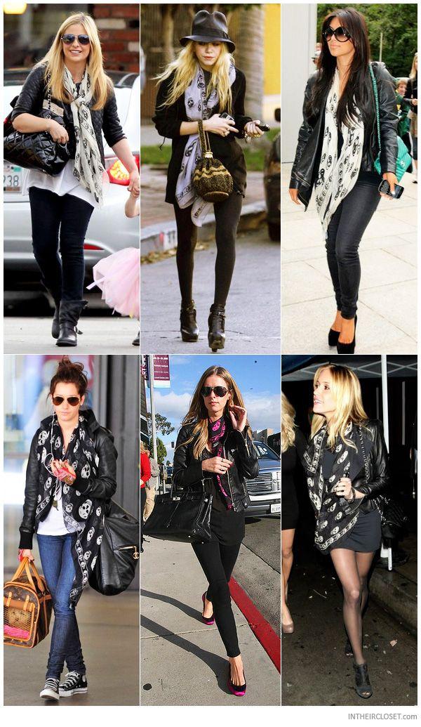 Sarah Michelle Gellar, Mary-Kate Olsen, Kim Kardashian, Ashley Tisdale, Nicky Hilton and Kristin Cavallari wearing an Alexander McQueen Skul...