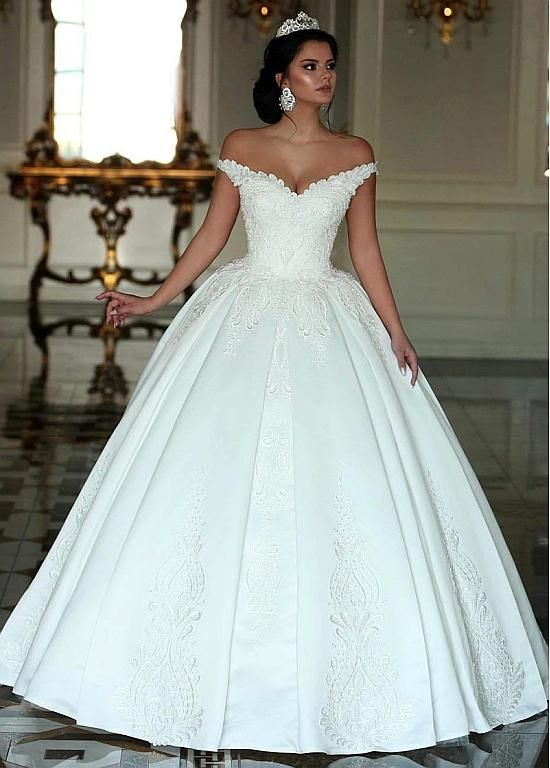 4f00c527ddd Magbridal Fabulous Satin Off-the-shoulder Neckline Ball Gown Wedding Dresses  With Beaded Lace
