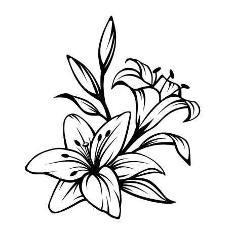 Stock Photo Fiori Tatuaggi Con Ispirazione Disegno Fiori E