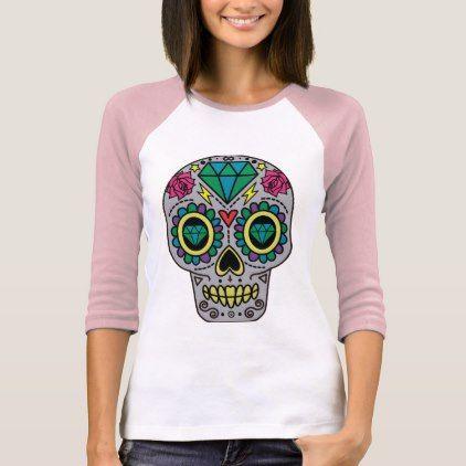 #Funky Sugar Skull Design Boho Love T-Shirt - #Halloween happy halloween #festival #party #holiday