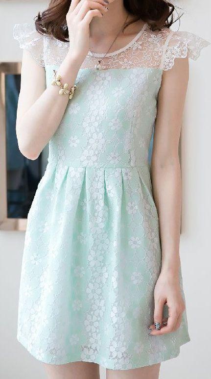 Mint lace floral dress