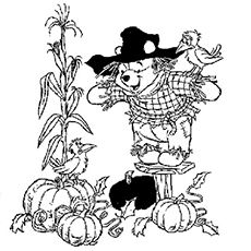 Winnie the Scarecrow Coloring Pages Free Printable